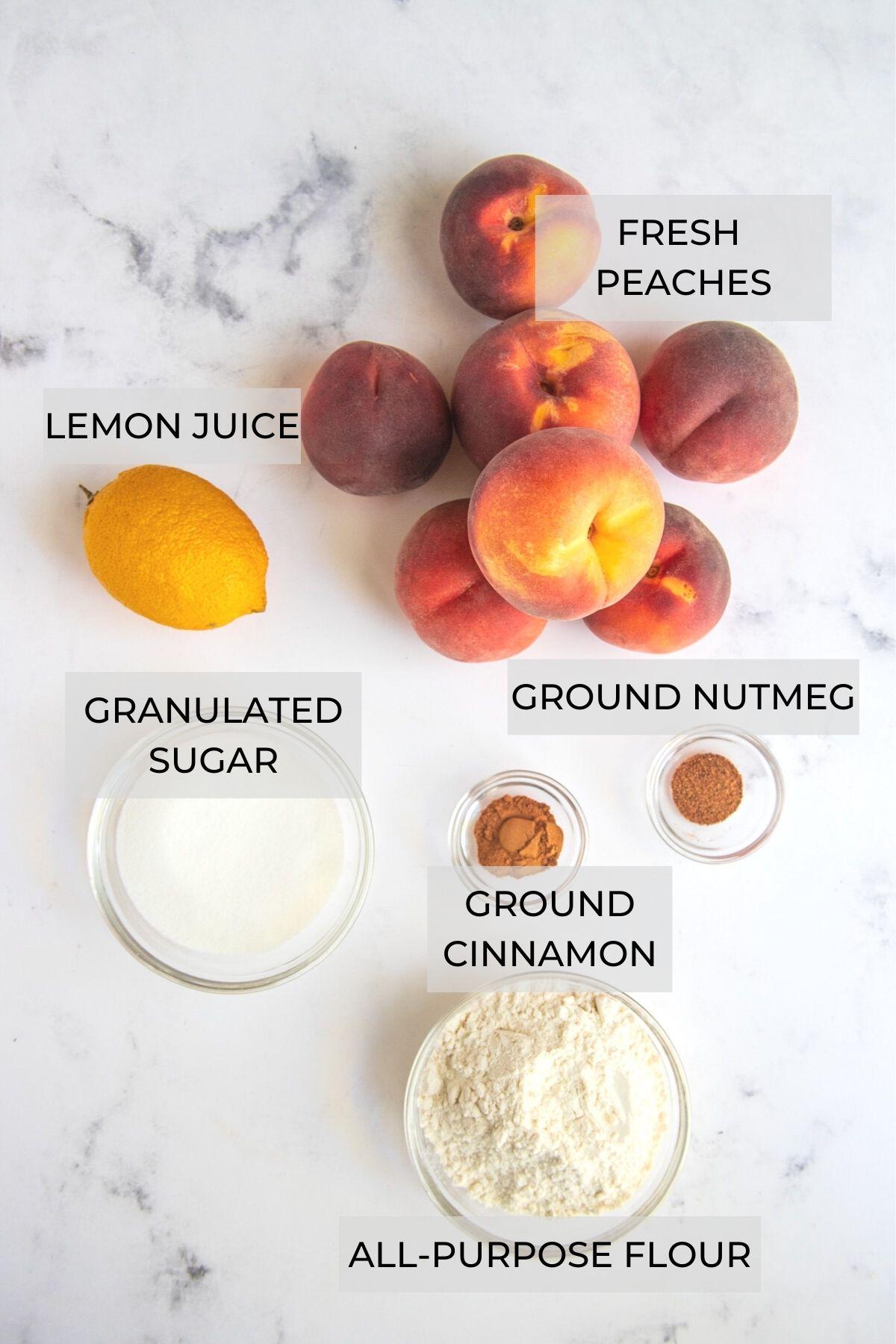 Peach Crumble Pie Peach Filling Ingredients - Peaches, ground nutmeg, ground cinnamon, flour, sugar and lemon juice