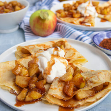 Apple Cinnamon Crepes with Whipped Cream