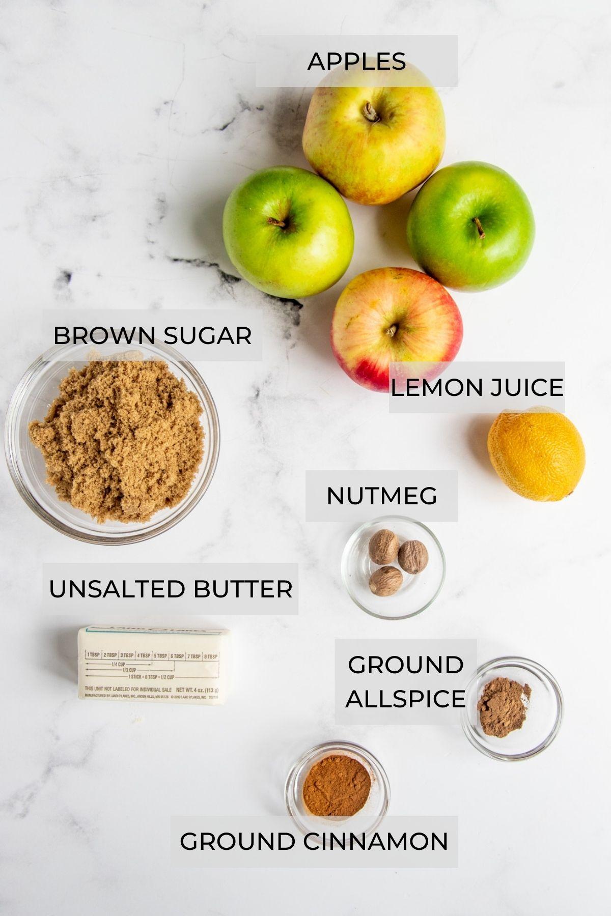 Apple Cinnamon Filling Ingredients - apples, lemon juice, nutmeg, allspice, cinnamon, butter and brown sugar