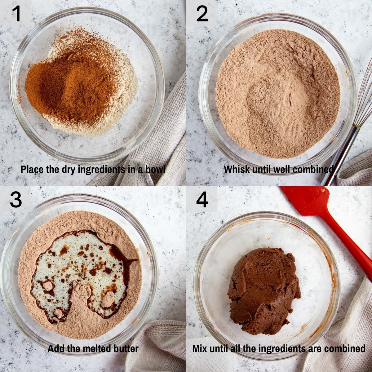 Visual steps for making the chocolate cookies crust