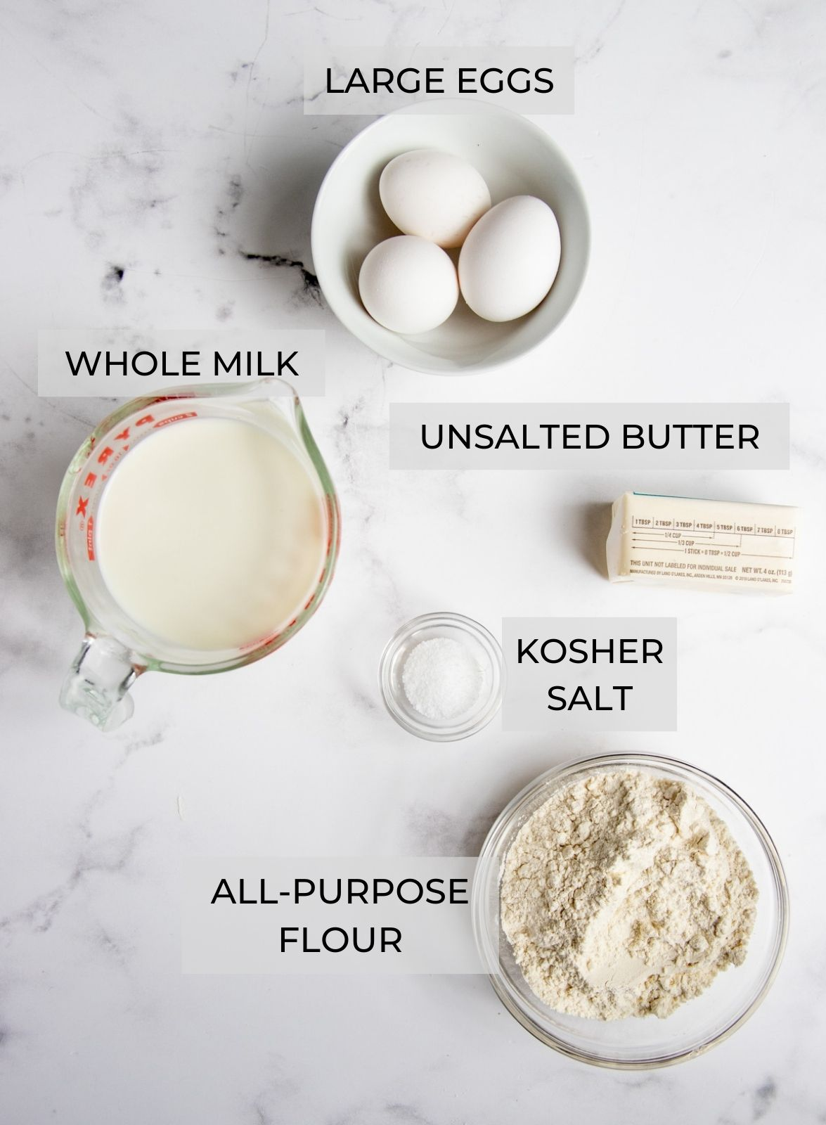 Crepe Ingredients - whole milk, eggs, unsalted butter, salt and flour