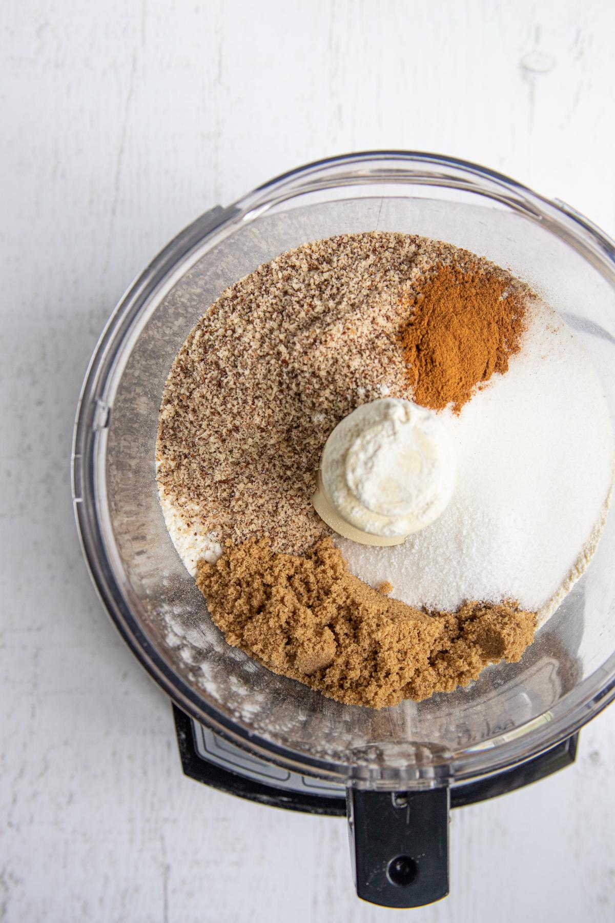 Hazelnut Cookies Ingredients in a Food Processor