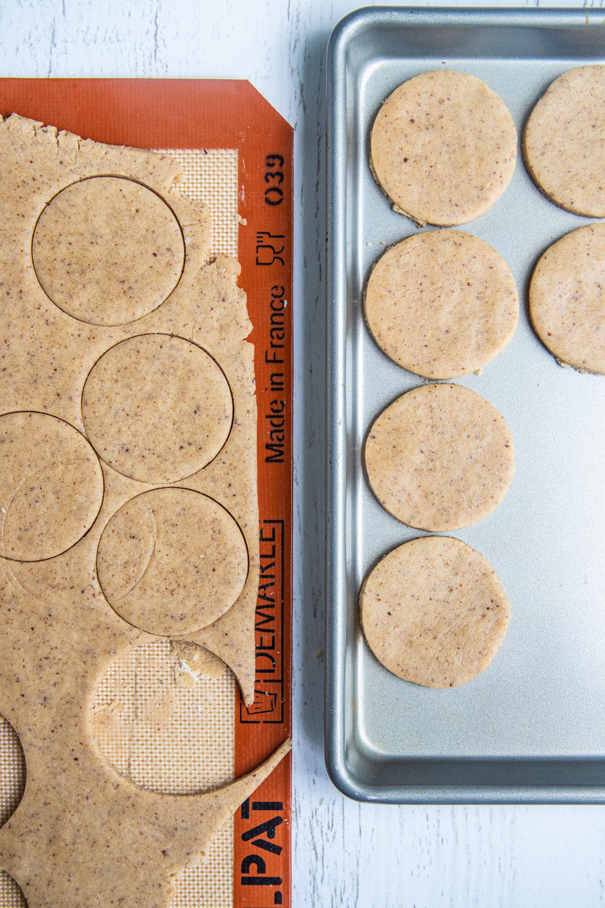 Hazelnut Chocolate Cookie Dough Cut Into 2.5-inch Circles